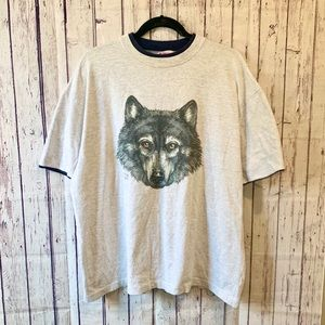 Vintage Double-Layer Wolf Tshirt
